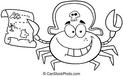 esquissé, pirate, crabe
