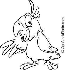 esquissé, présentation, perroquet