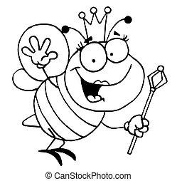 esquissé, reine, amical, abeille
