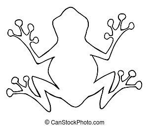 esquissé, silhouette, grenouille