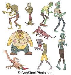 esquissé, terrifiant, zombies, dessins