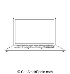 esquissé, vecteur, ordinateur portable, illustration