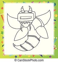 esquissé, version, caractère, robot, dessin animé