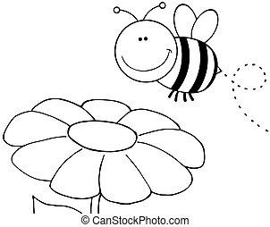 esquissé, voler plus, fleur, abeille