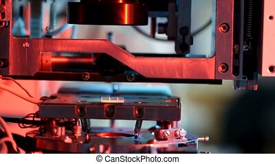 essai, bonder, travail, équipement, microélectronique, laboratoire