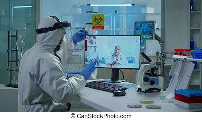 essai, conversation, vidéo, tenue, appeler, laboratoire, tube, technicien, docteur, complet, ppe