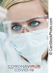 essai, femme, covid-19, tube, laboratoire, docteur, coronavirus, scientifique