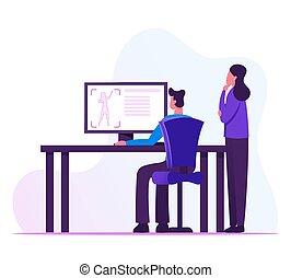essai, illustration, mâle, écran, entrepreneurs, vecteur, femme, figure., industriel, plat, concepteurs, dessin animé, informatique, regarder, processus, science, laboratoire, création, imprimante, prototype, 3d