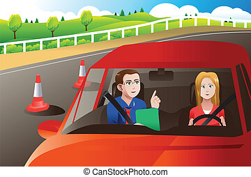 essai, route, adolescent, conduite