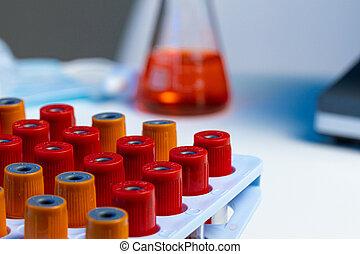 essai, sanguine, laboratoire, tubes, haut fin