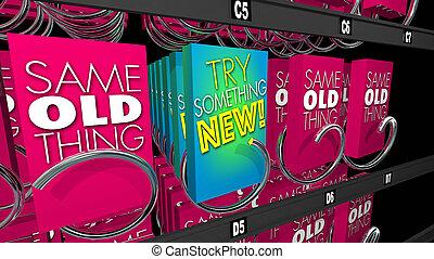 essayer, produit, vente, offre, illustration, machine, procès, quelque chose, nouveau, 3d