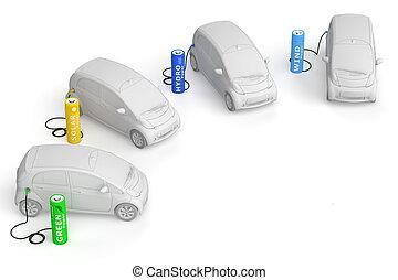 essence, énergies renouvelables, -, batterie, e-cars, station, carburants