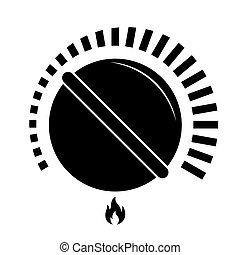 essence, noir, cuisine, cuisine, cadran, bouton, chaleur, poêle, isolé, vecteur, illustration
