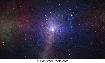 essence, sci-fi, boucle, nuage, étoiles, galaxie, espace, animation, voler
