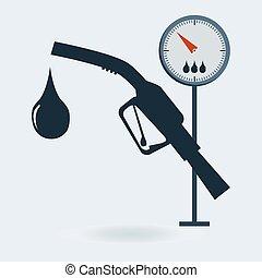 essence, signe., pompe gaz, station, jauge, icon., lance