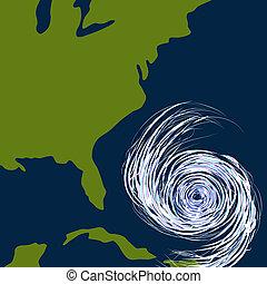 est, ouragan, dessin, côte