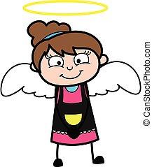 esthéticien, dessin animé, costume ange
