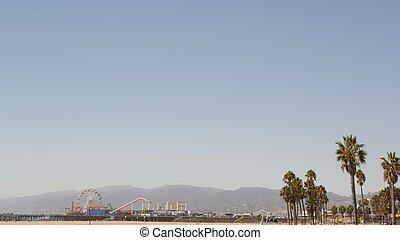 esthétique, symbole, los, ferris, californie, angeles, espace, iconique, paume, roue, jetée, océan, ca, plage, amusement, santa monica, pacifique, vue, arbres, été, copie, usa, parc, resort., ciel, classique