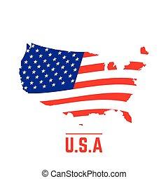 etats, carte, drapeau, uni