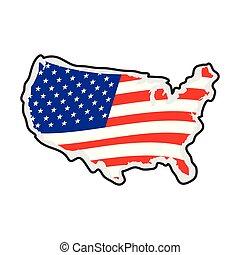 etats, carte, drapeau, uni, sien