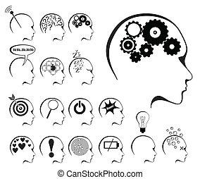 etats, cerveau, ensemble, icône, activité