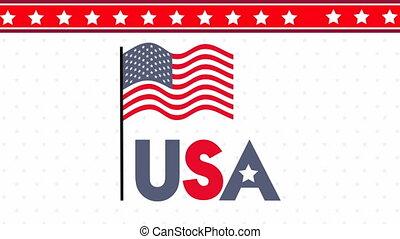 etats, drapeau, uni, animation, amérique