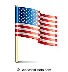 etats, drapeau, uni, lustré, amérique