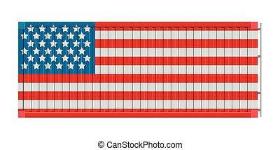 etats, drapeau, uni, récipient