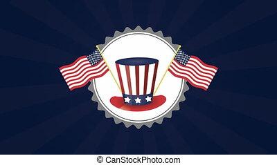 etats, drapeaux, tophat, amérique, uni
