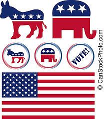 etats, ensemble, politique, symboles, uni, fête