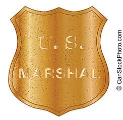 etats, uni, écusson, marshal, bouclier