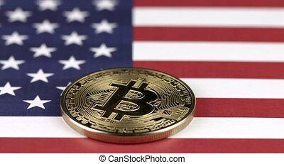 etats, uni, mouvement, moule, drapeau, doré, bitcoin, usa., amérique, 4k, cryptocurrency