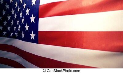 etats, uni, tissu, national, amérique, drapeau, ralenti