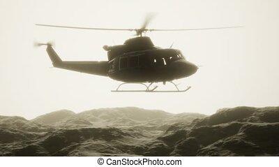 etats, vietnam, hélicoptère, mouvement, lent, militaire, uni