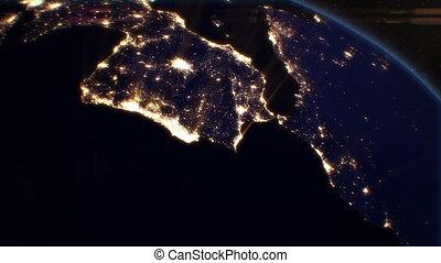 eu, villes, satellite., nuit