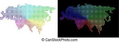 eurasie, spectre, pointillé, carte