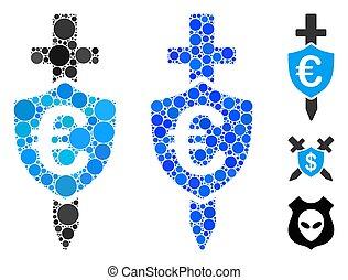 euro, bouclier, icône, mosaïque, cercles