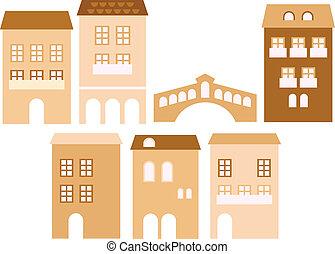 européen, beige, vieux, (, isolé, maisons, ville, ), blanc