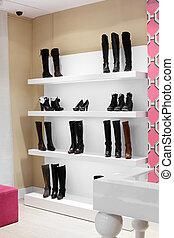 européen, chaussures, magasin, luxe