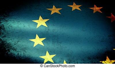 européen, grunge, onduler, drapeau syndicats