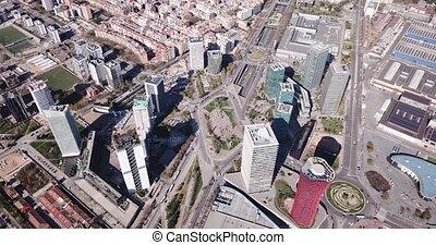 europa, gratte-ciel, moderne, via, vue, d, gran, business, placa, district, aérien