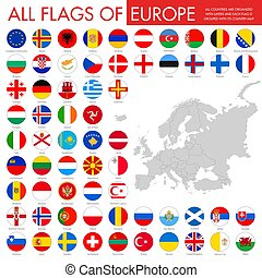 europe, boutons, drapeau, rond, pays
