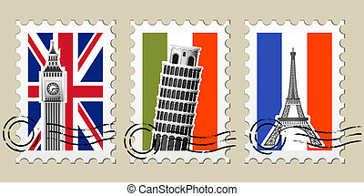 europe, cachets poste, timbres, vues, trois