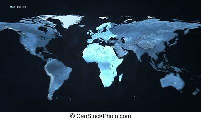 europe, carte, afrique, numérique