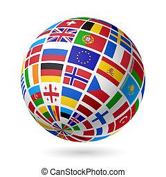 europe., drapeaux, globe.