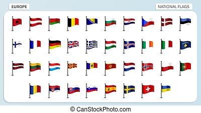 europe, national, drapeaux