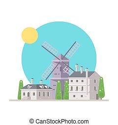 europe, plat, éolienne, conception, village
