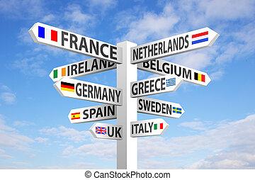 europe, poteau indicateur