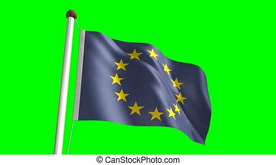 europe, &, screen), drapeau, vert, (loop