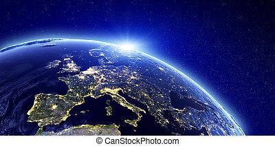 europe, ville, -, lumières
